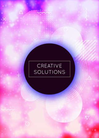 Fluorescent cover with liquid neon shapes. Purple fluid. Luminou Illustration