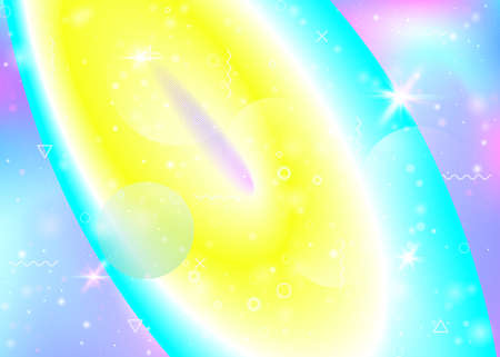Vibrant gradients on rainbow background. Holographic dynamic flu