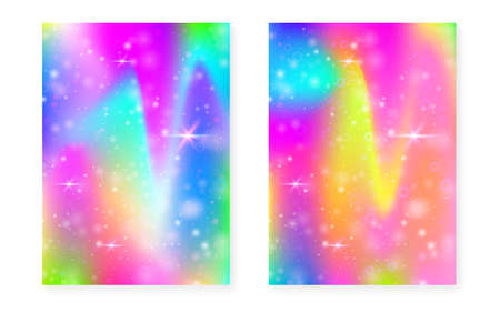 Kawaii background with rainbow princess gradient. Magic unicorn