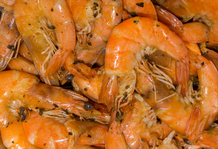 jumbo shrimp: Cooked fine fresh juicy shrimps with herbs, spices and salt Stock Photo