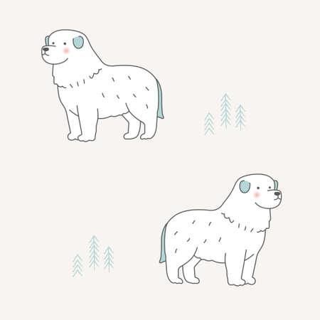 Vector Great Pyrenees dog illustration