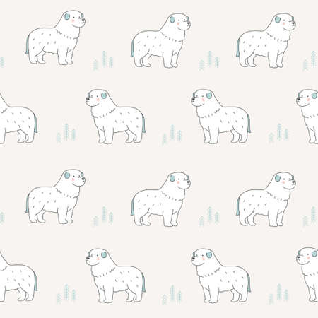 Vector Great Pyrenees dog illustration seamless repeat pattern