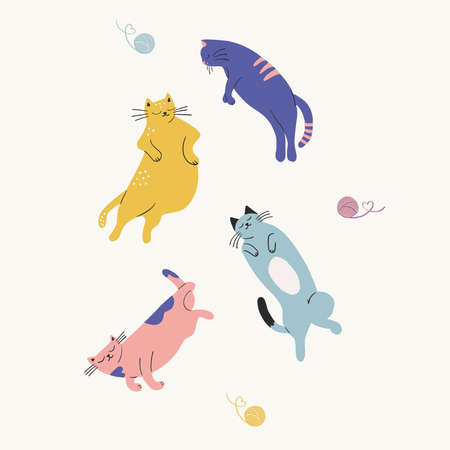 Vector hand-drawn cute cats with a skein illustration set