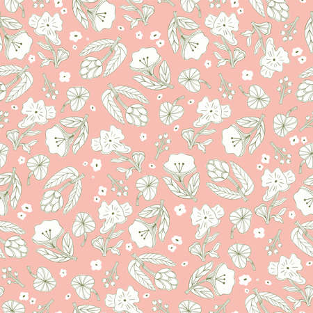 Vector hand-drawn cute outline flower illustration motif seamless repeat pattern baby pink background Illustration