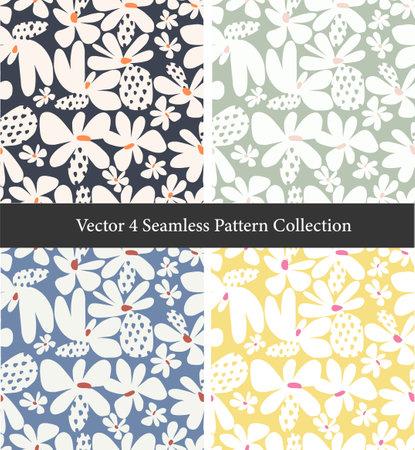 Vector Scandinavian abstract flower illustration motif seamless repeat pattern collection set digital file pattern artwork fashion or home decor print fabric textile Ilustração Vetorial