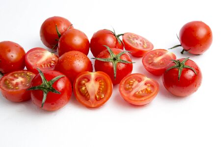 Cherry tomatoes on white