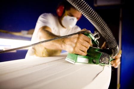 surfboard: Surfboard shaping Stock Photo