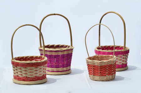 A few traditional handmade egg baskets usually used in wedding gift. Selective focus points