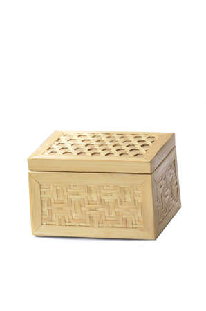 A traditional handmade box made from bamboo with lid