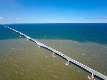 Drone shot of long bridge over water