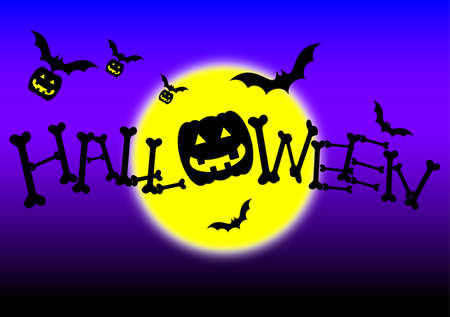 day and night: halloween day night and yellow moon