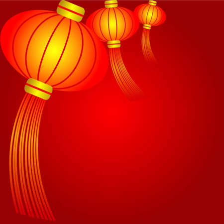 holiday celebrations: Chinese Lantern and red background