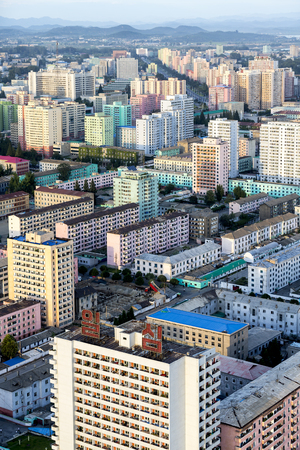 building color: Color building in Pyongyang, North Korea