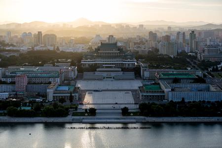 Color building in Pyongyang, North Korea