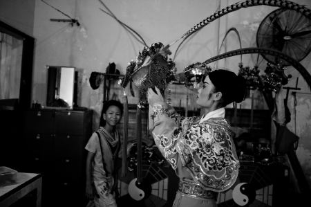 clothing: Behind the stage of a Chinese Opera