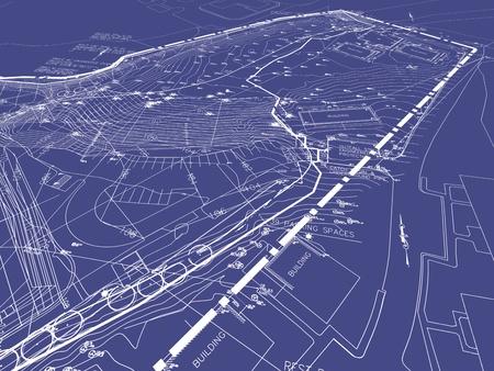 Technische tekeningen met landschapsontwerp op blauwdruk