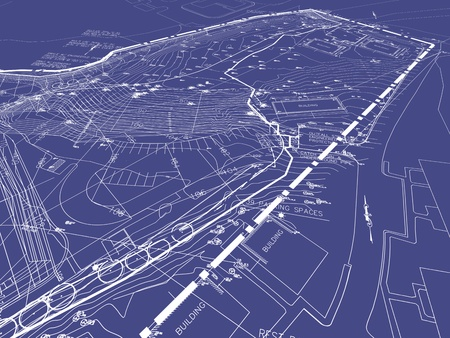 Engineering Drawings with Landscape Design on Blueprint