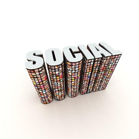 Social Text with Photos on White Stock Photo - 9177252