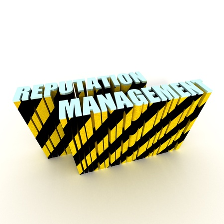 reputation management text with warning stripe tape isolated on white background