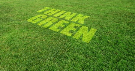 Think Green Text on Green Lawn