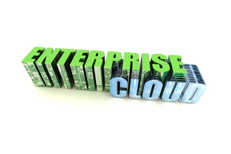 Enterprise Cloud Text Electronics Block on White Background