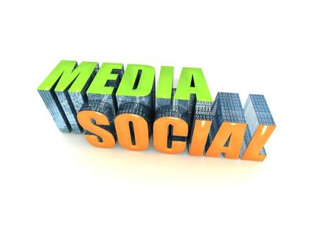 Media Social Text on White Background