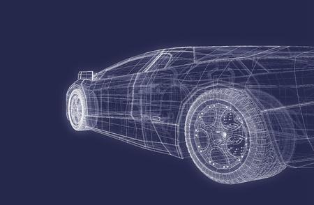 Super Sports Racing Car Design Blueprint Background Standard-Bild