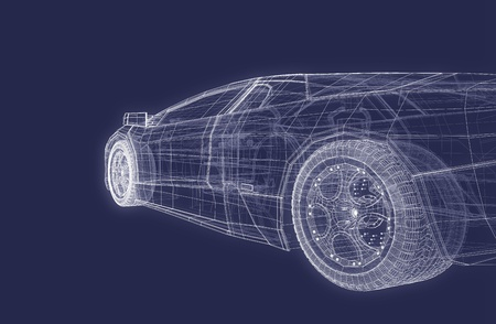 road tunnel: Super Sports Racing Car Design Blueprint Background Stock Photo