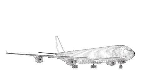 Freight Jet Airliner CAD Wireframe on Tarmac Stock Photo