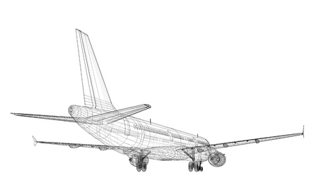 Passenger Jet Airliner CAD Wireframe on Tarmac