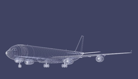 Freight Jet CAD Wireframe on Tarmac