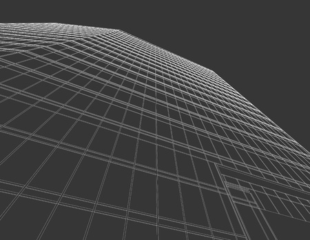 Office Building Line Drawing on Grey Background