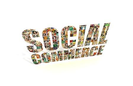 Social Commerce Text on White Background Imagens