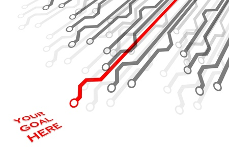 critical thinking: Critical Path in Red Stock Photo