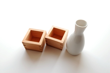 Sake bottle with Wood Masu Containers
