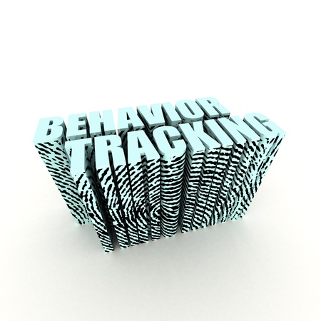 online privacy: Behavior Tracking Text with Fingerprint on White Stock Photo