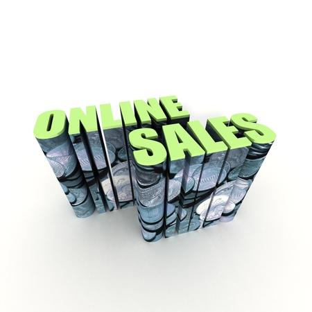 online privacy: Online Sales Text with Currency on White Background Stock Photo