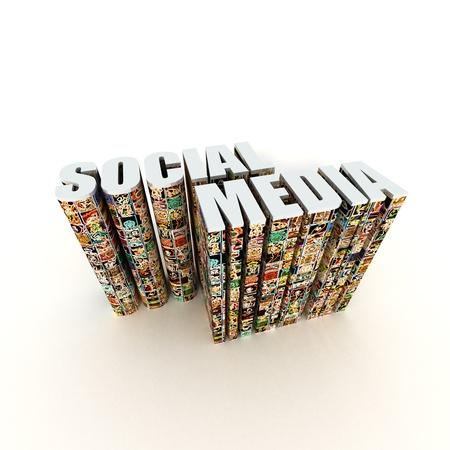 Sociale texte médiatique avec des icônes app isolé sur fond blanc Banque d'images - 10100791