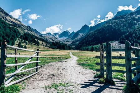 barnwood: mountain gate south tyrol, suedtirol, italy Stock Photo