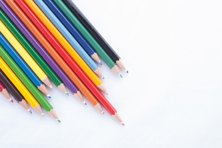 wooden pencil: Colour pencils isolated on white background
