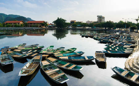 Boats  Van Lam Wharf, Tam Coc Grotto, Ninh Binh Province, Vietnam Stock Photo