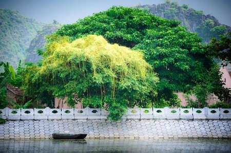 Boats in Tam Coc wharf, Ninh Binh province, Vietnam