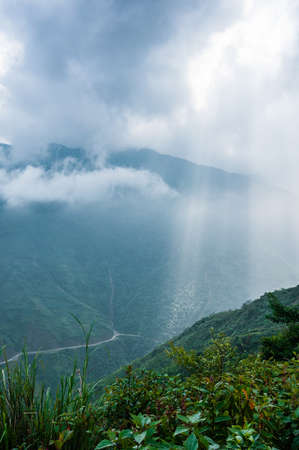 Rays of light on mountain and cloudy sky, Northwest of Vietnam