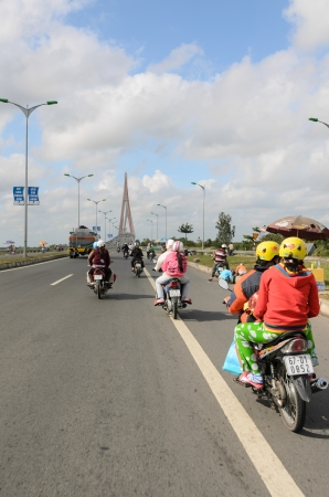 CAN THO CITY, VIETNAM - JANUARY 19  Vinh Long side of Can Tho cable-stayed bridge on January 19, 2012 in Can Tho  The bridge is currently the longest main span cable-stayed bridge in Southeast Asia