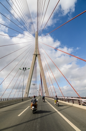 CAN THO CITY, VIETNAM - JANUARY 19  Top part of Can Tho cable-stayed bridge on January 19, 2012 in Can Tho  The bridge is currently the longest main span cable-stayed bridge in Southeast Asia
