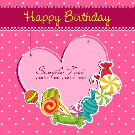 verjaardag frame: Roze kaart van de verjaardag Stock Illustratie