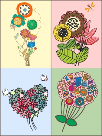 beautifull: set of bunch of flowers Illustration