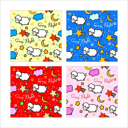 pattern sheep good night for children Vector