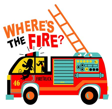 Fire truck vector graphic design for boy t shirt printing Vectores
