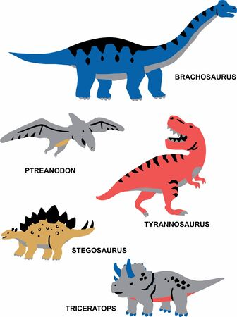 dinosaurs with their name vector design for kids